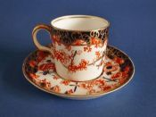 Royal Crown Derby 'Imari Scissors' Pattern 2649 Coffee Can and Saucer c1914